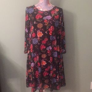 NWT Honey and Lace Medium Black Floral Swing Dress